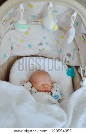 sweet newborn baby sleeping in the crib