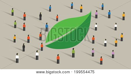 eco friendly crowd green leaf people awareness society concept ecology environment vector