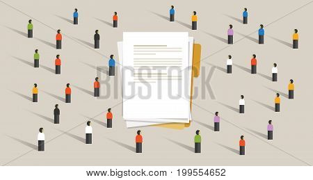 people crowd working on document together team work brainstorm cooperation together paper-work vector