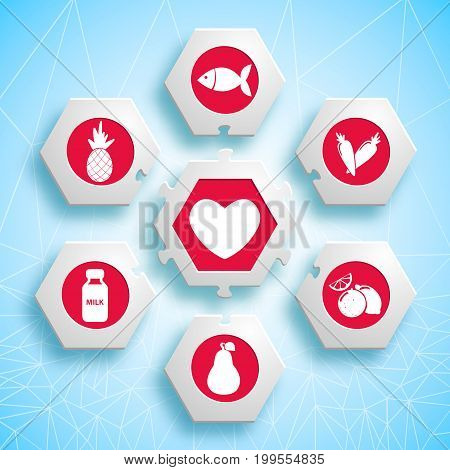 Healthy food infographic puzzle design with hexagons and red products icons useful for heart vector illustration