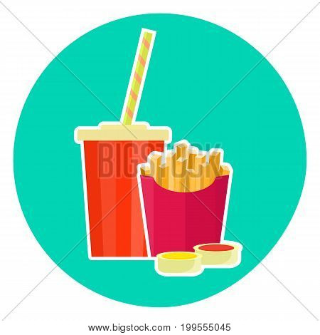 Flat colorful vector lovely fast food couple - cola and french fries. Cute fastfood symbol for cafe bar restaurant menu and web design