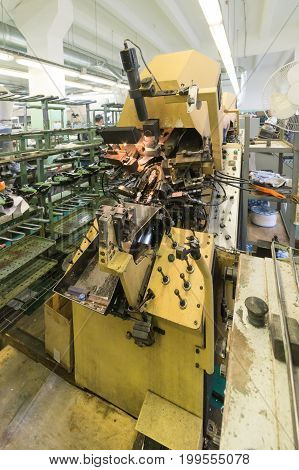 Equipment and machines for the production of footwear. Large shoe factory.