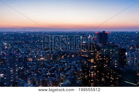 Tokyo City of light building at dawn