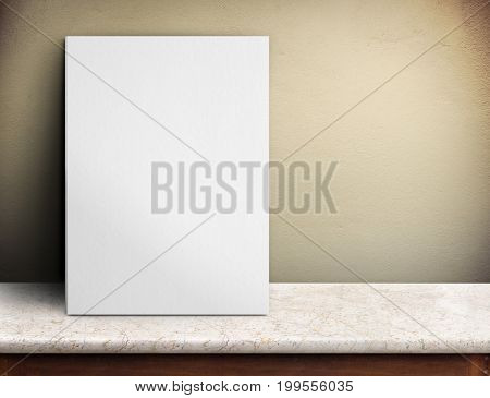 Blank White Paper Poster On Marble Table At Yellow Concrete Wall,template Mock Up For Adding Your De