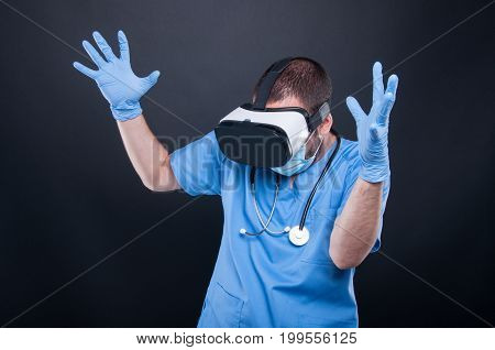 Doctor Using Virtual Reality Glasses Acting Mad Or Scared