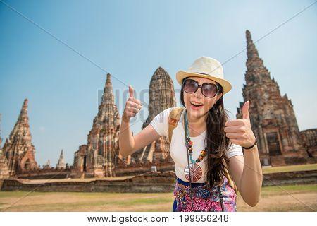 Asia Student Tourist Girl At Wat Chaiwatthanaram