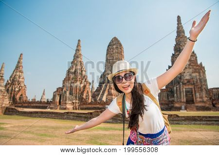 Beautiful Young Lady Travel In The Ayutthaya