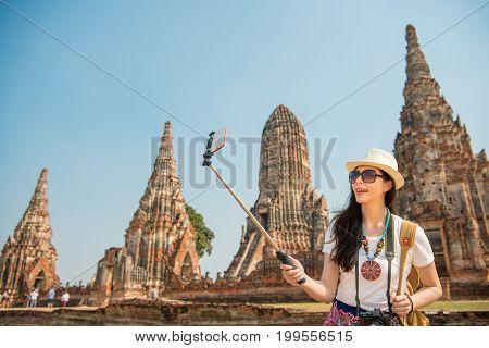 Thailand Ayutthaya Tourist Taking Picture