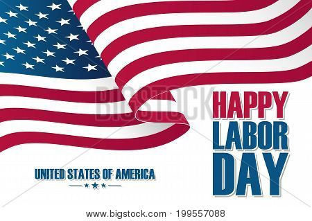 Happy Labor Day celebration card with waving United States national flag. Vector illustration.