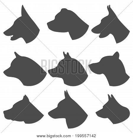 Dog silhouette set vector illustration on white background