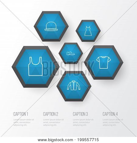 Garment Outline Icons Set. Collection Of Singlet, Gown, Cardigan And Other Elements