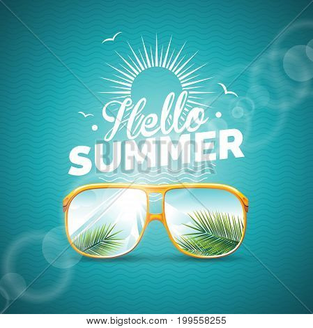 Vector Illustration On A Summer Holiday Theme With Sunglasses On Blue Background.