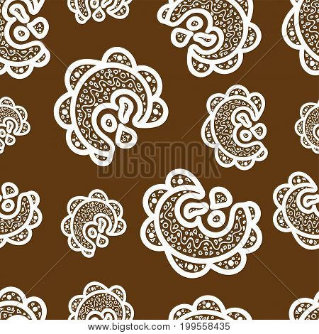 Seamless pattern.White doodle elements on brown background. Ornamentsfor web wrapping paper print fabric textile design. Vector illustration.Abstract backdrop. Aztec style.