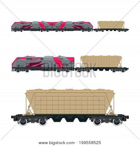 Pink Locomotive with Hopper Car for Transportation Freights Train Isolated Railway and Cargo Transport Vector Illustration