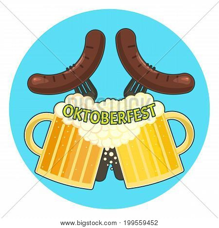 Bright colorful oktoberfest symbol with two cups of beer and two sausages. Nice friendly color traditional german oktoberfest couple of beer and sausage symbol