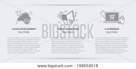 Flat line illustration business concept menu banner set of cloud development digital marketing and e-commerce solution company site services for websites on gray paper background