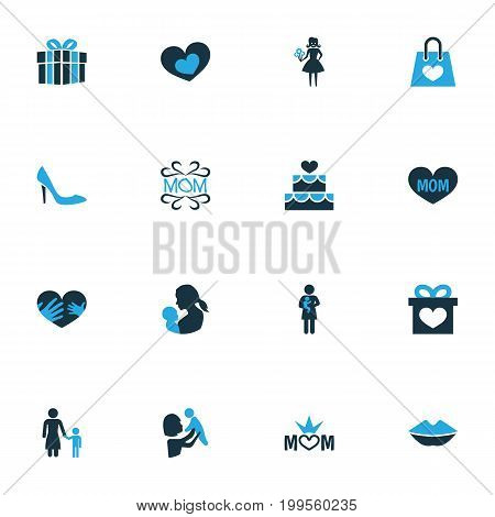 Mothers Day Colorful Icon Design Concept. Set Of 16 Such Elements As Romantic, Lips And Cake