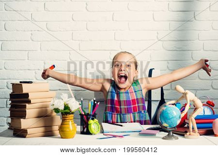 Girl With Books, Globe And Colorful Stationery On Table