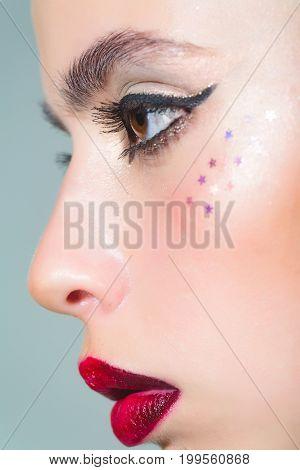 Girl With Fashionable Makeup.