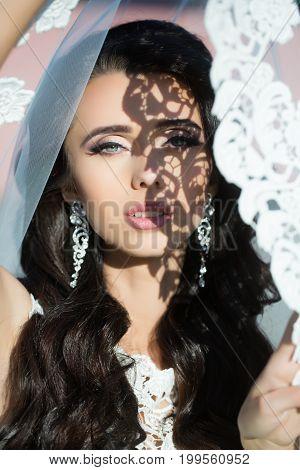Wedding Veil On Bride.