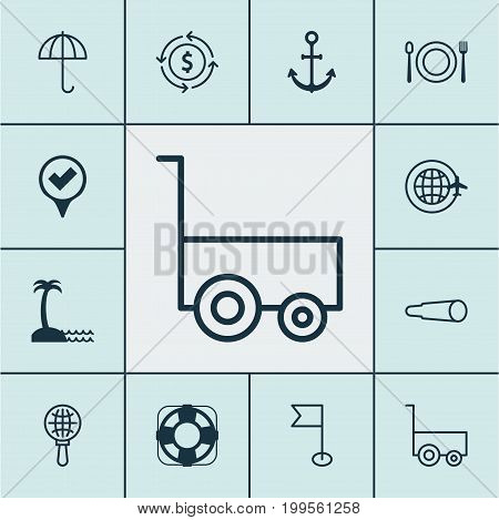 Tourism Icons Set. Collection Of Sea Rescue, Checked Pointer, Globe Search And Other Elements