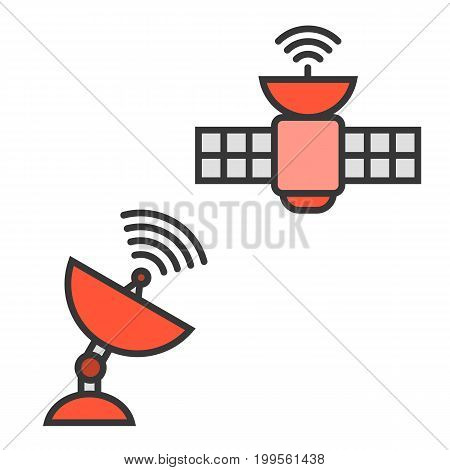satellite and satellite dish, line icon vector with fill color