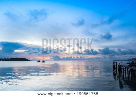 Seascape Of Koh Samui Pier In Twilight Sunset.