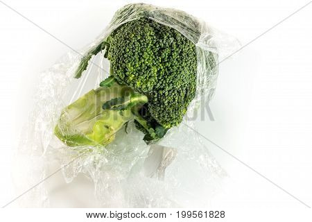 Freshness Wrap Protect For Broccoli Vegetable By Plastic Wrap