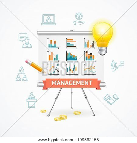 Business Management Concept with Easel or Desk and Thin lines outline web icons. Vector illustration