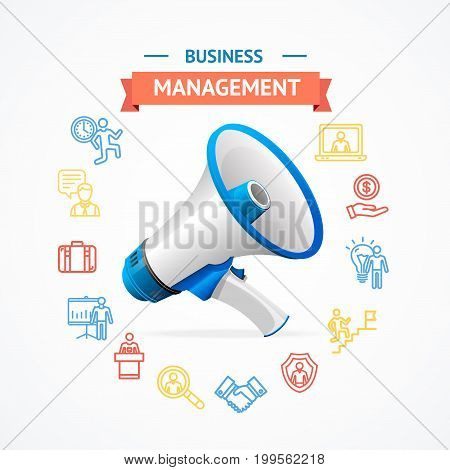 Business Management Concept with Megaphone Communication Speaker and Thin lines outline web icons. Vector illustration