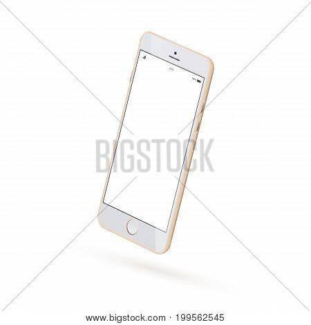 Vector Realistic perspective smartphone mockup isolated. Realistic smartphone mock up. 3d Perspective view of high detailed smartphone. Vector golden modern smartphone mockup.