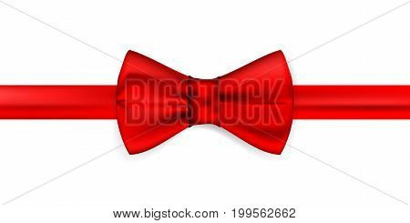 Silk red ribbon with a bow. Realistic red bow tie, vector illustration, isolated on white background. Elegant silk neck bow. Realistic red bow tie