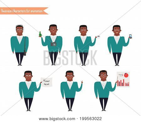 Ready-to-use character set. Afro-American Young man casual skinny jeans messenger bag Various poses and emotions. Full length front isolated white background