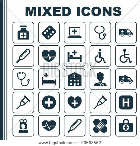 Antibiotic Icons Set. Collection Of Tent, Rhythm, Spike And Other Elements