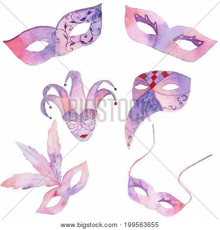 Watercolor hand drawn venetian carnival masks on white background