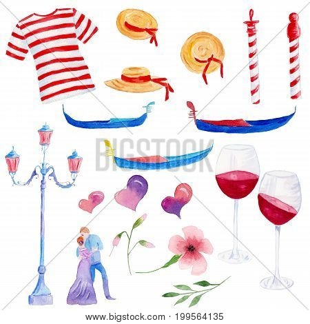 Watercolor hand drawn set of venetian symbol gondola lamp a couple of lovers hearts flowers and glasses of red wine