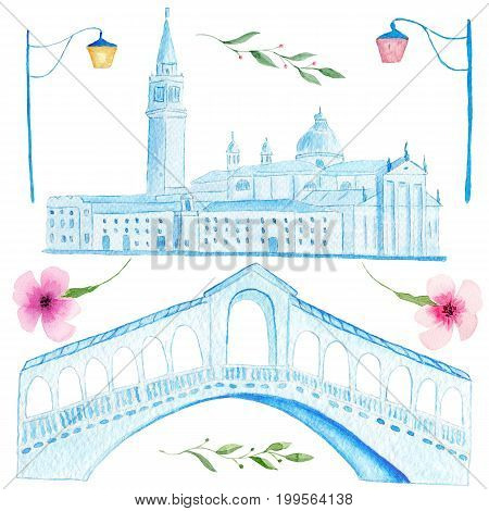 Hand drawn watercolor painting of venetian Rialto bridge and Saint Mark square on white background