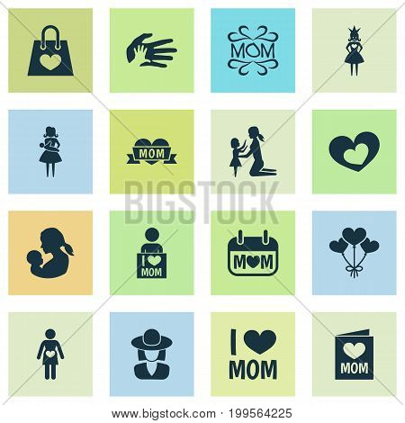 Mothers Day Icon Design Concept. Set Of 16 Such Elements As Helping, Pregnancy And Invitation