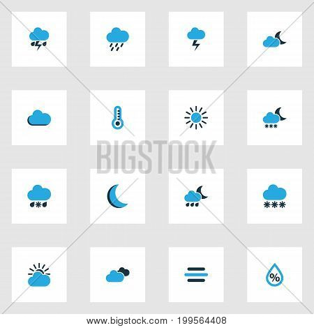 Weather Colorful Icons Set. Collection Of Rainstorm, Cold Weather, Overcast And Other Elements