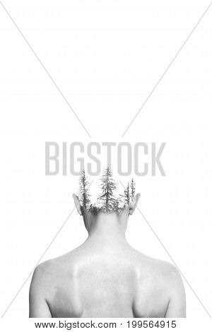 The girl and the forest. Double exposure black and white photo