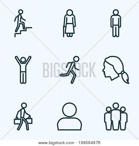 Human Outline Icons Set. Collection Of Team, Head, Woman And Other Elements