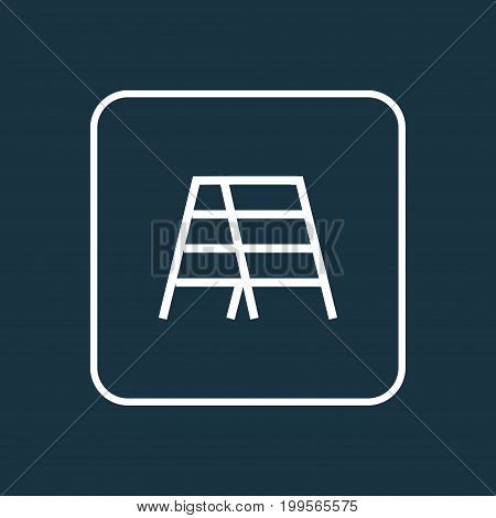 Premium Quality Isolated Stepladder Element In Trendy Style.  Stair Outline Symbol.