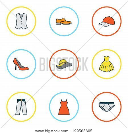 Dress Colorful Outline Icons Set. Collection Of Elegant Headgear, Man Footwear, Panties And Other Elements