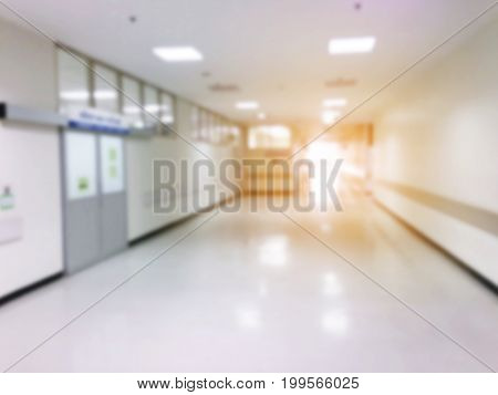 abstract blurred image of hospital or clinic interior for background with sunlight effect light of life and emergency save life concept