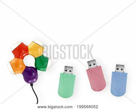 colorful USB Flash Drive and usb hub isolated on white background, connected devices for storage and transferring digital data, close up top view