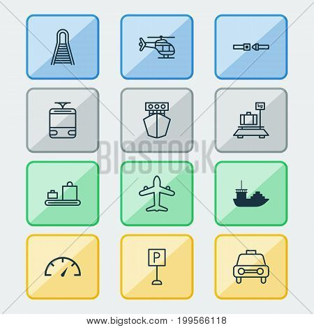 Vehicle Icons Set. Collection Of Baggage Carousel, Safety Belt, Streetcar And Other Elements