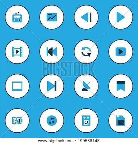 Multimedia Colorful Icons Set. Collection Of Multimedia, Chart, Energy And Other Elements