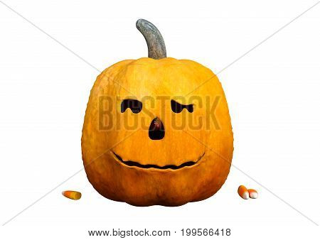3D Rendering Halloween Pumpkin On White