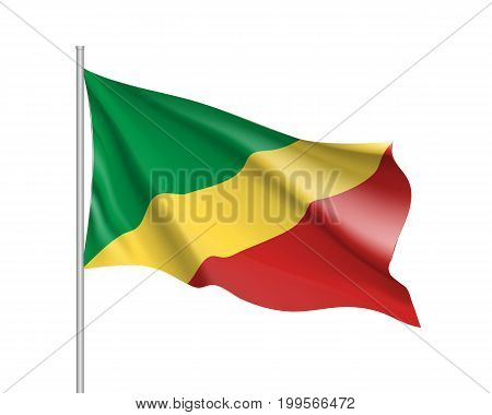 Congo flag. Illustration of African country waving flag on flagpole. Vector 3d icon isolated on white background. Realistic illustration