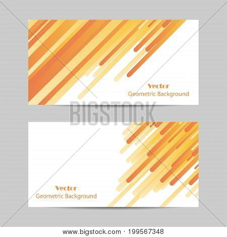 Set of horizontal banners. Yellow lines abstract vector background